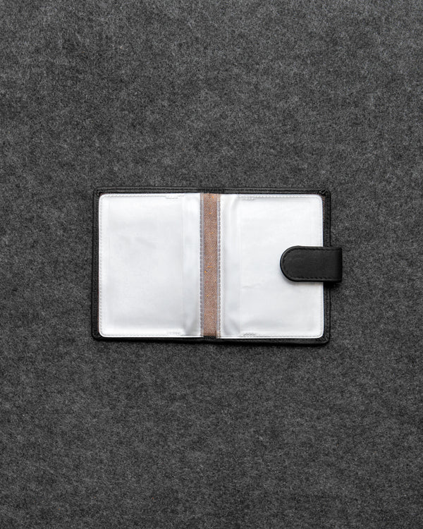 Black Newton Leather And Plastic Tab Card Holder a
