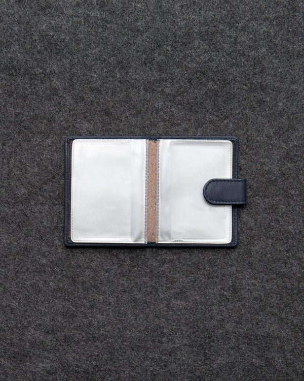 Navy Newton Leather And Plastic Tab Card Holder a