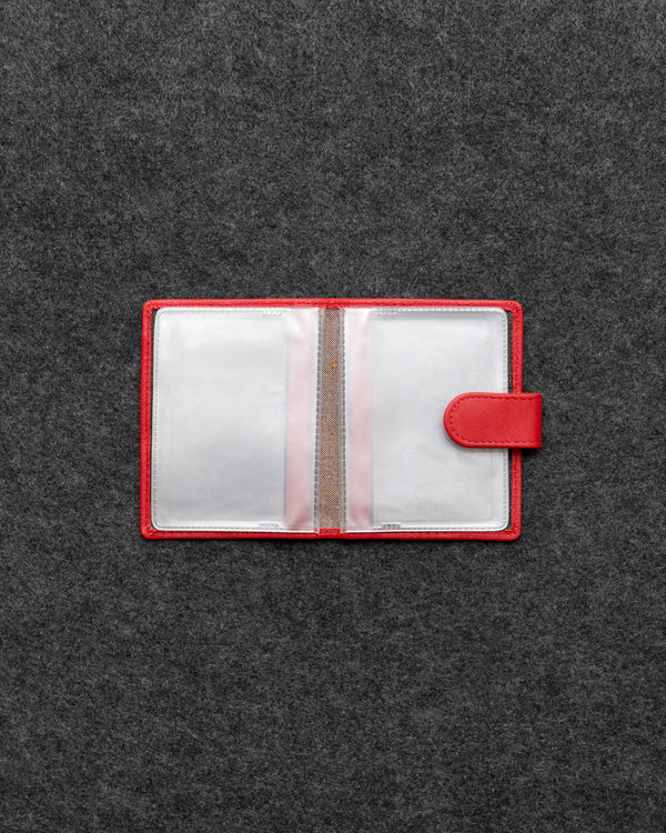 Red Newton Leather And Plastic Tab Card Holder a