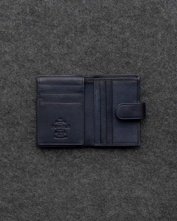Navy Newton Leather Card Holder Wallet a