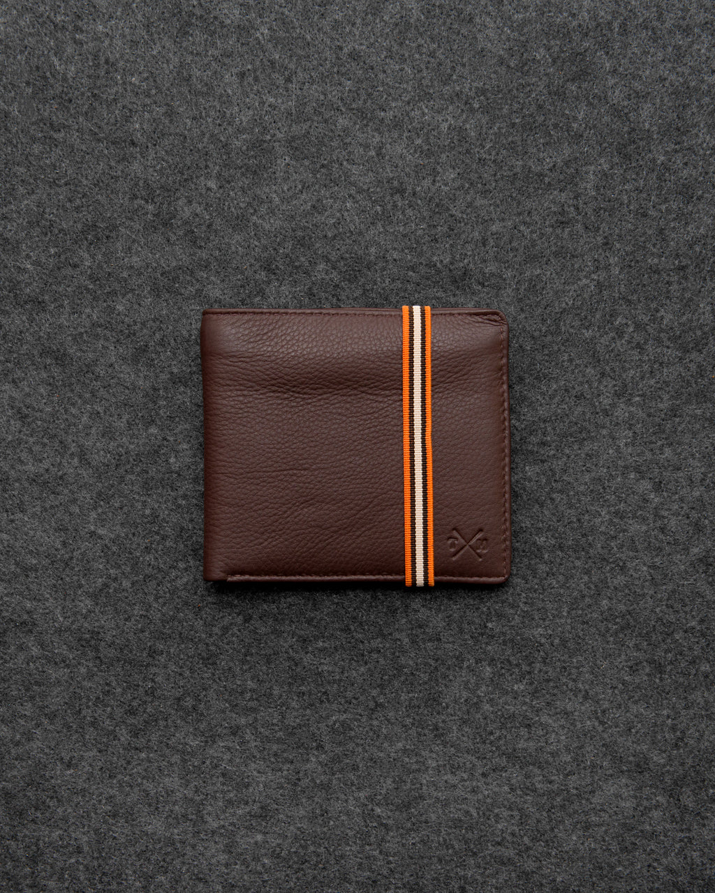 Brown Newton Leather Elastic East West Basal Wallet b