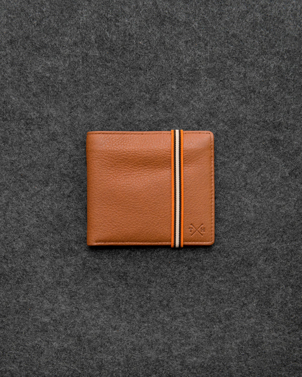 Tan Newton Leather Elastic East West Basal Wallet b