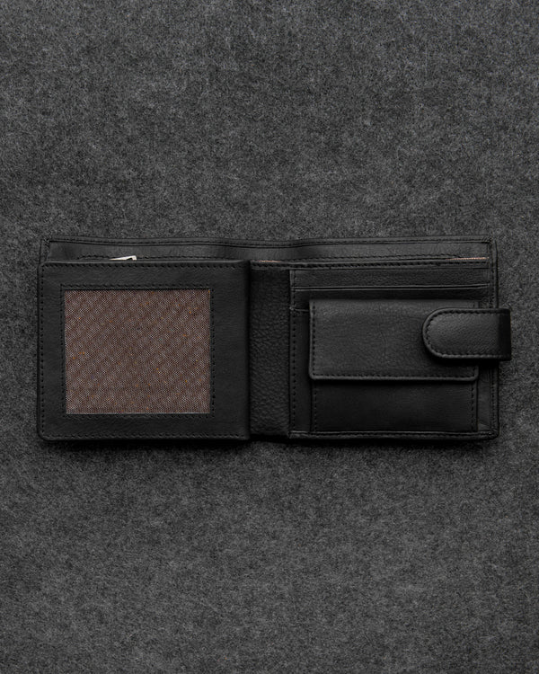 Black Newton Leather Everyday Wallet a