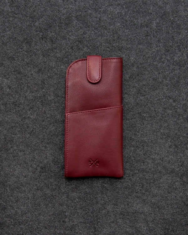 Oxblood Newton Leather Glasses Case a