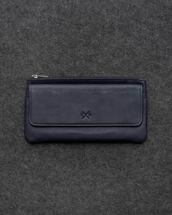 Navy Newton Leather Large Slim Purse a