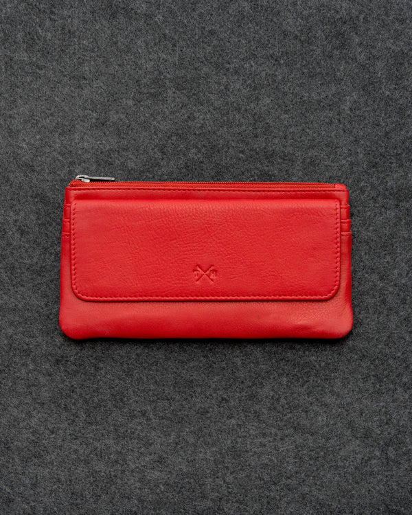 Red Newton Leather Large Slim Purse a