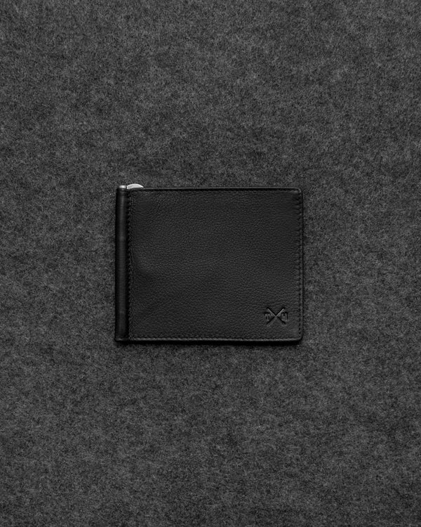 Black Newton Leather Money Clip Wallet a