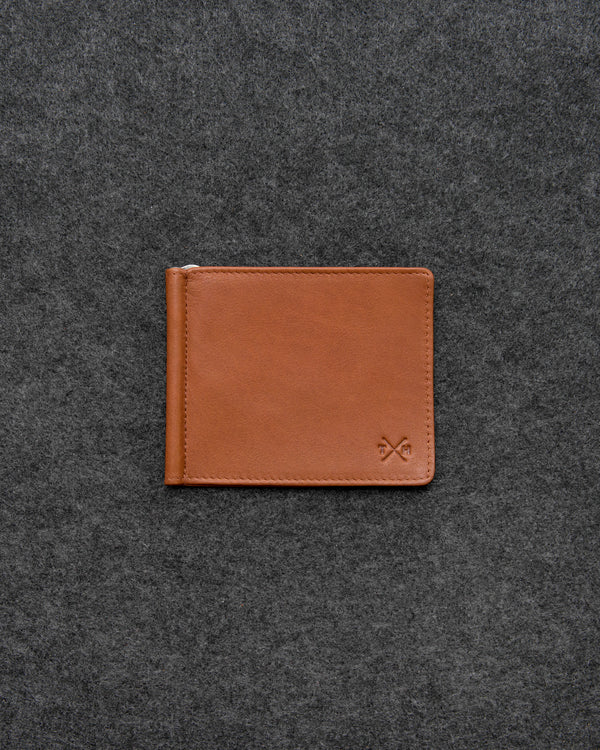 Tan Newton Leather Money Clip Wallet a
