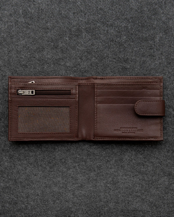 Brown Newton Leather Replete Tray Wallet a