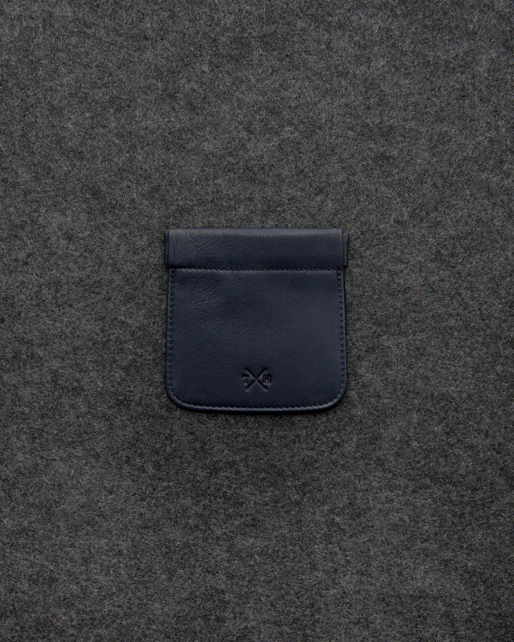 Navy Newton Leather Snap Top Coin Pouch a