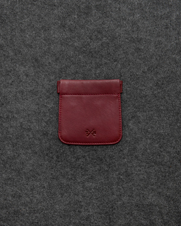 Oxblood Newton Leather Snap Top Coin Pouch a