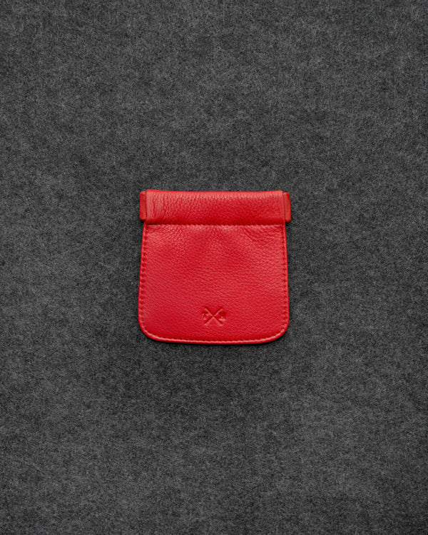 Red Newton Leather Snap Top Coin Pouch a