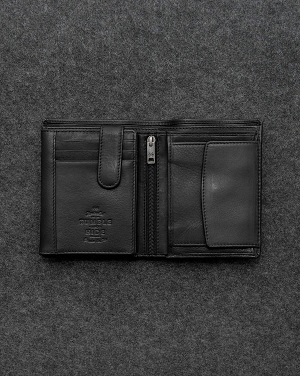 Black Newton Leather Traditional Large Capacity Wallet a