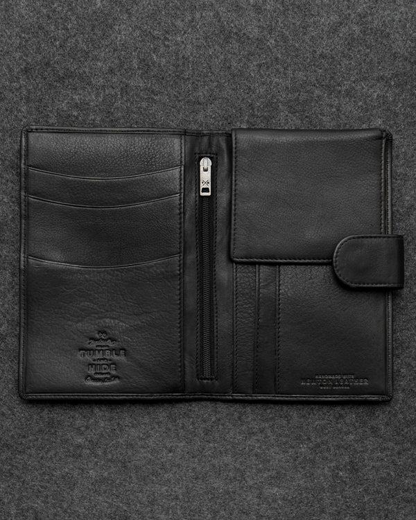 Black Newton Leather Travel Wallet a