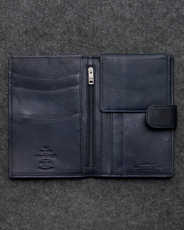 Navy Newton Leather Travel Wallet a