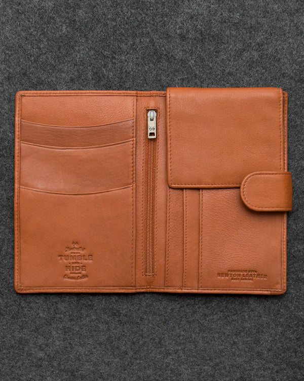 Tan Newton Leather Travel Wallet a
