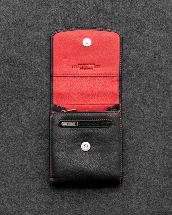 Black And Red Newton Leather Flap Over Travel Bag a