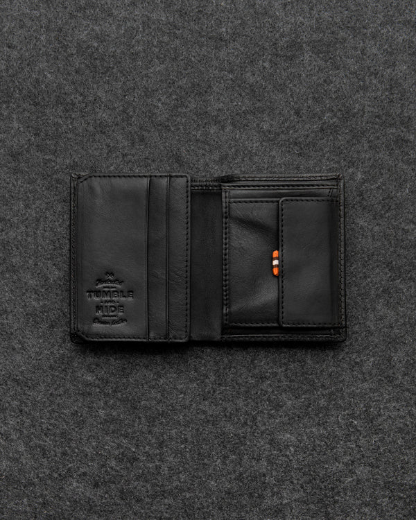 Black Tudor Leather Abridged Wallet a