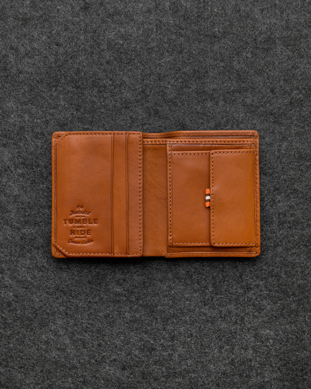Tan Tudor Leather Abridged Wallet a