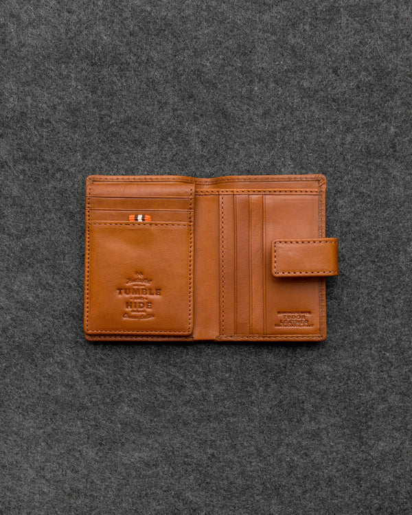 Tan Tudor Leather Card Holder Wallet a