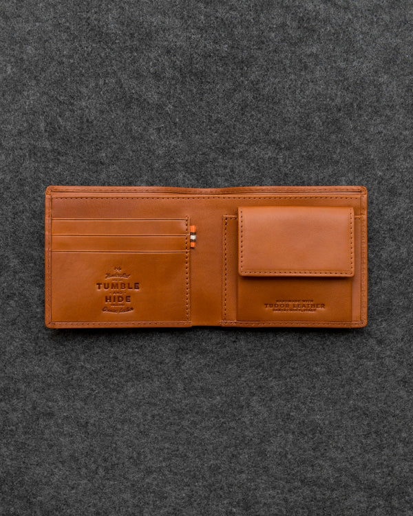 Tan Tudor Leather Coin Pocket Wallet a