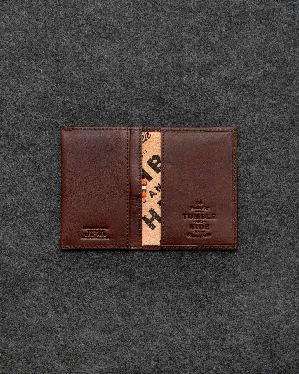 Brown Tudor Leather Flap Over Card Holder b
