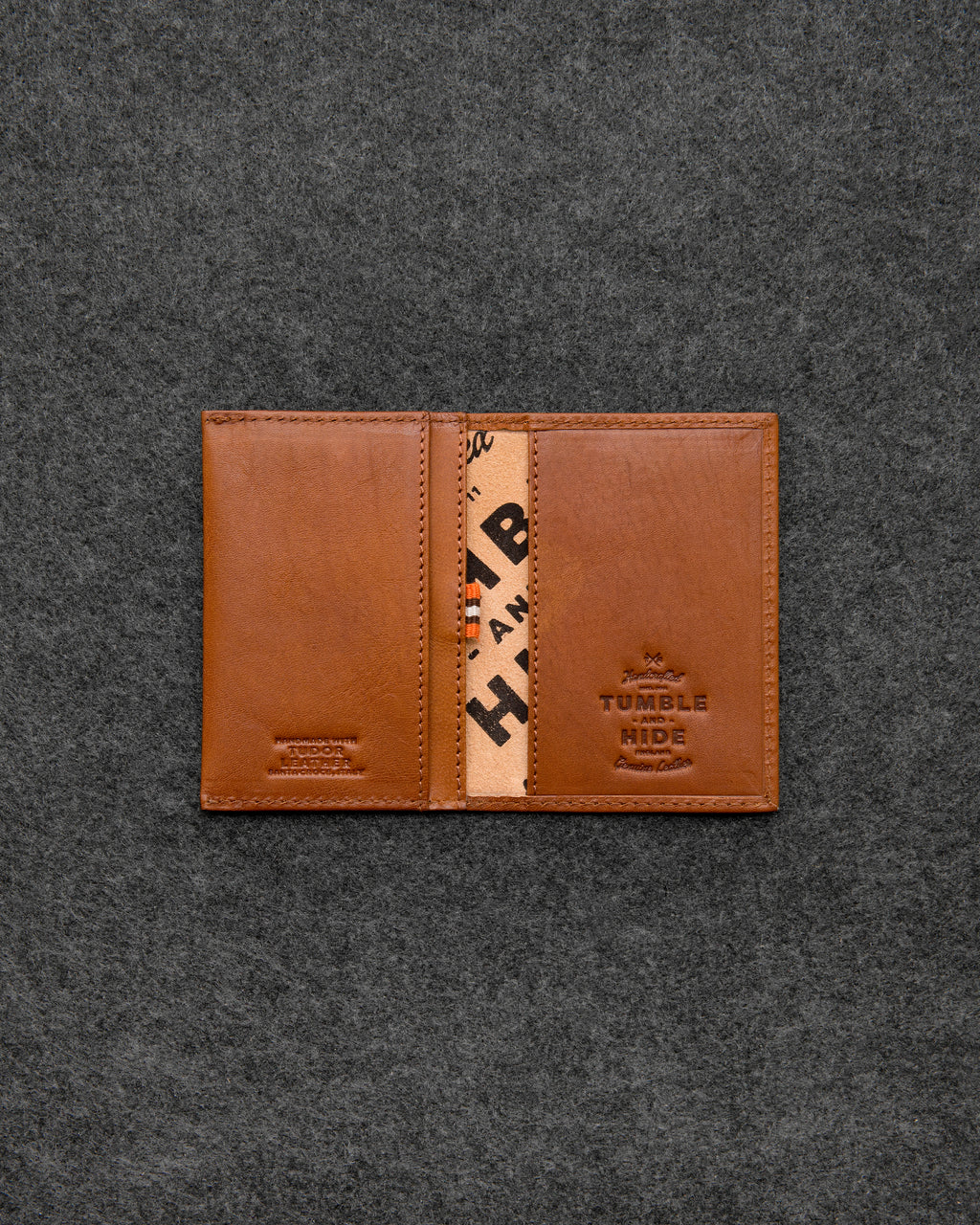 Tan Tudor Leather Flap Over Card Holder a