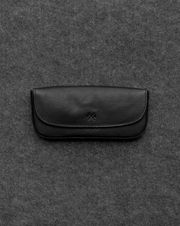 Black Tudor Leather Glasses Case a