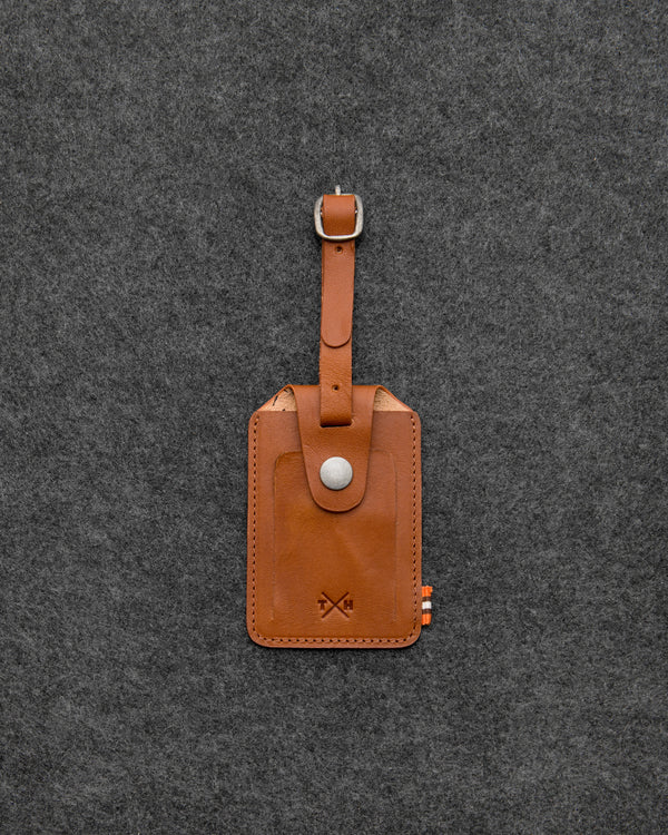 Tan Tudor Leather Luggage Tag a