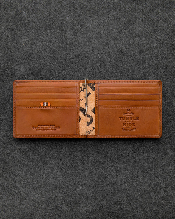 Tan Tudor Leather Money Clip Wallet a