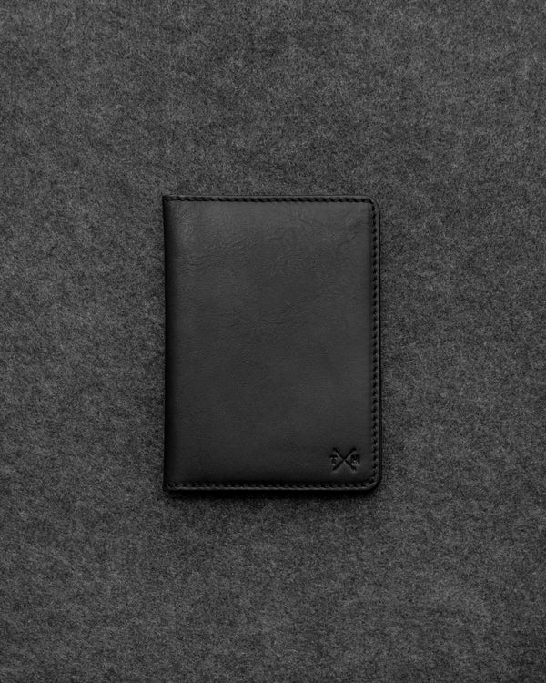 Black Tudor Leather Passport Holder b