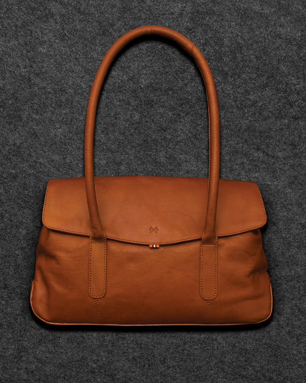 Tan Tudor Leather Shoulder Bag