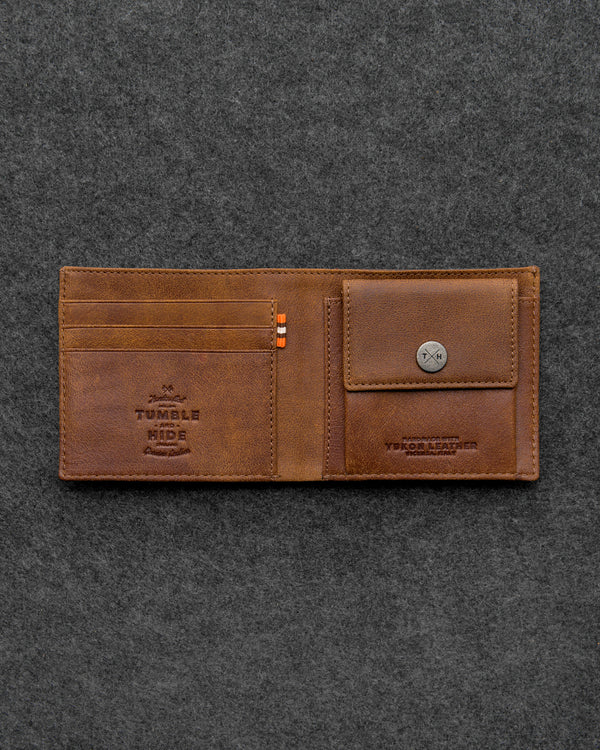 Brown Yukon Leather Coin Pocket Wallet a