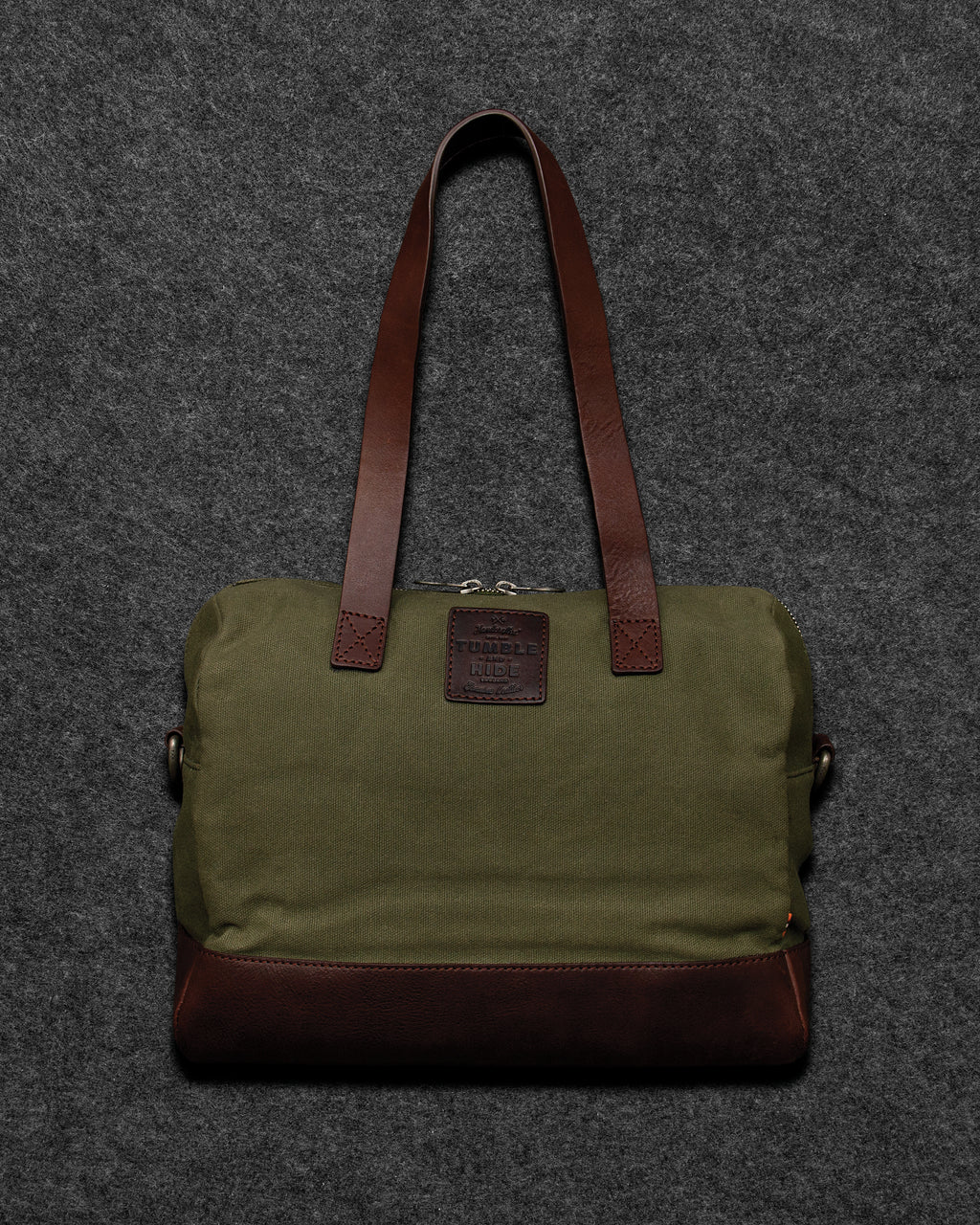 Brown Chukka Leather And Canvas Bowler Bag