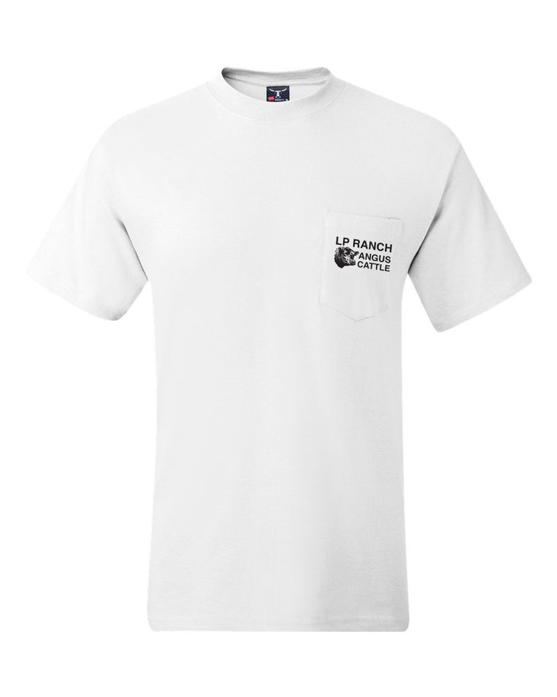 LP Ranch Logo Hanes Pocket Beefy-T - White