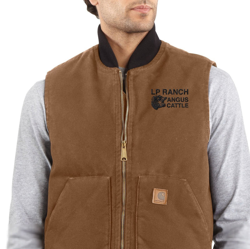 LP Ranch Embroidered Carhartt Sandstone Vest / Arctic Quilt Lined