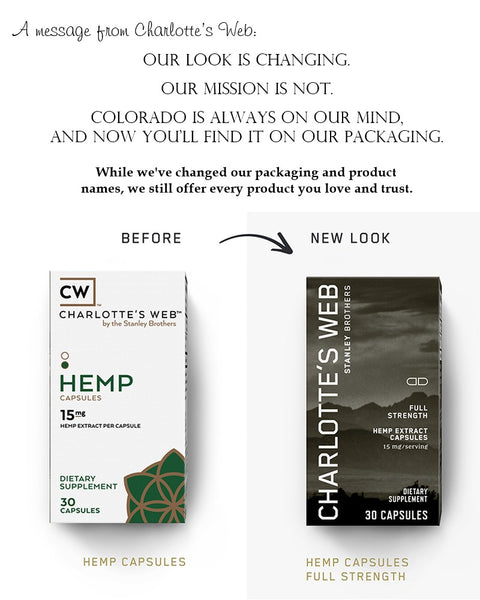 Charlotte's Web, CW Hemp, CBD oil, Hemp Extract, Old Packaging to New Packaging