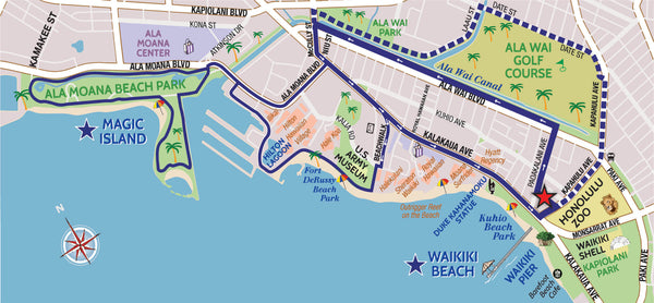 Maps of the Honolulu Zoo, Waikiki and Magic Island Bike Routes | Waikiki Tours and Rentals