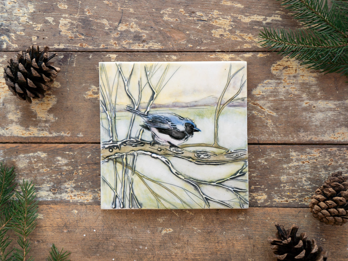 Hand-painted ceramic tile, black-throated blue warbled