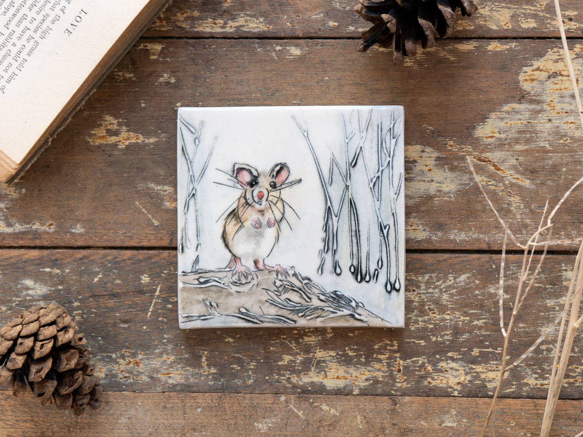 Hand-painted tile, field mouse in reeds