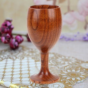 Handmade 14.2cm High Goblet Wood Red Wine Cup New Natural Jujube Wooden Tableware Water Cup Drinkware New Year Gift