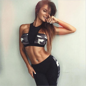 2017 Two Piece Set Tracksuit Camouflage Sexy Sleeveless Sweatsuits For Women Sets Cropped Survetement femme military S1138