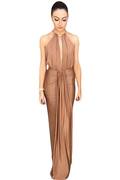 Camel Silky Jewel Halter Jersey Evening Dress