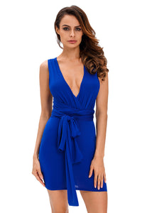 Blue Multi-wear Open Back Club Cocktail Party Mini Dress