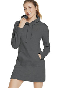 Dark Grey Slim Fit Pocket Front Hoodie Mini Dress
