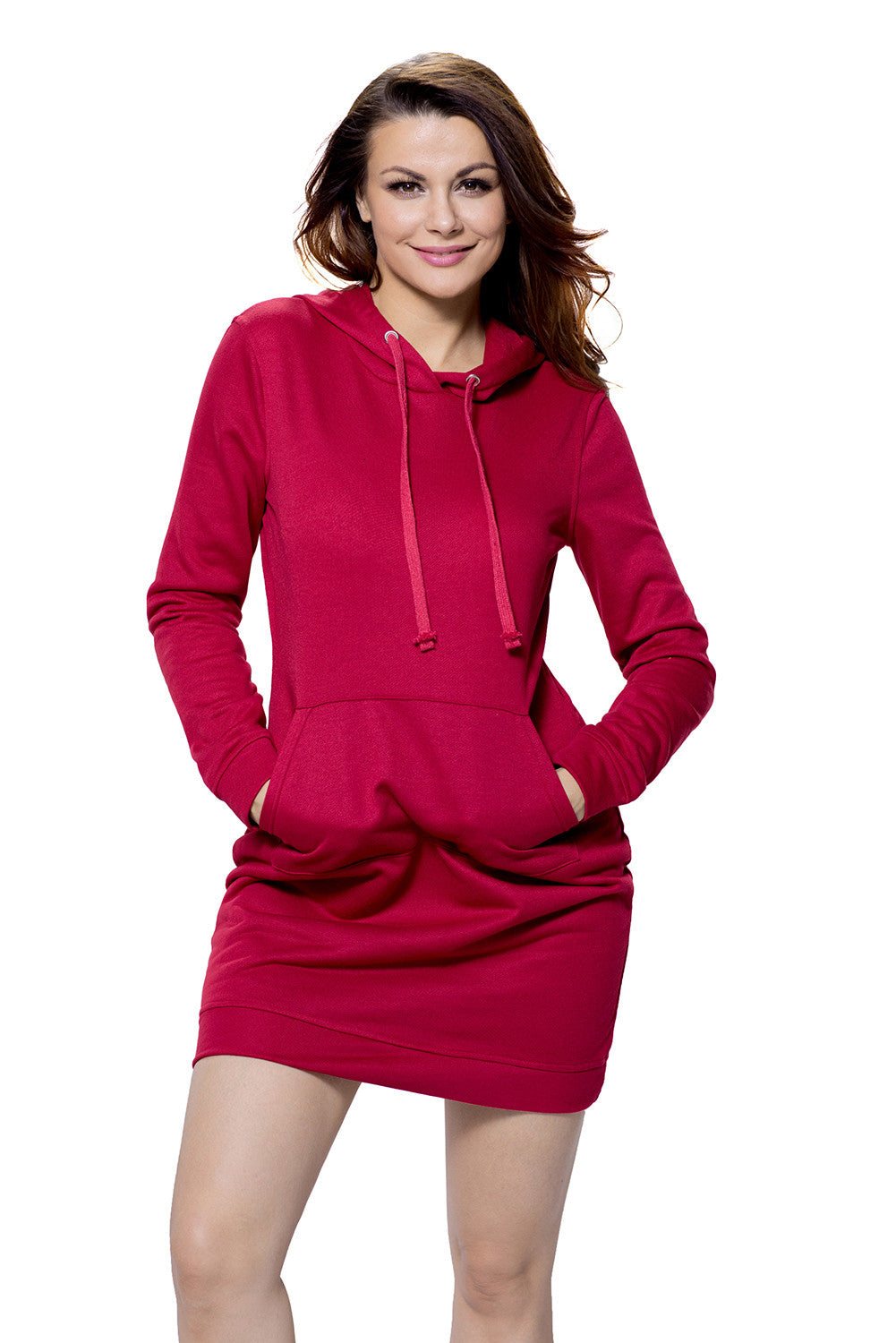 Burgundy Slim Fit Pocket Front Hoodie Mini Dress