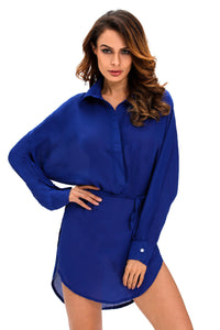Blue Long Shirt Belted Shift Dress with Side Slit