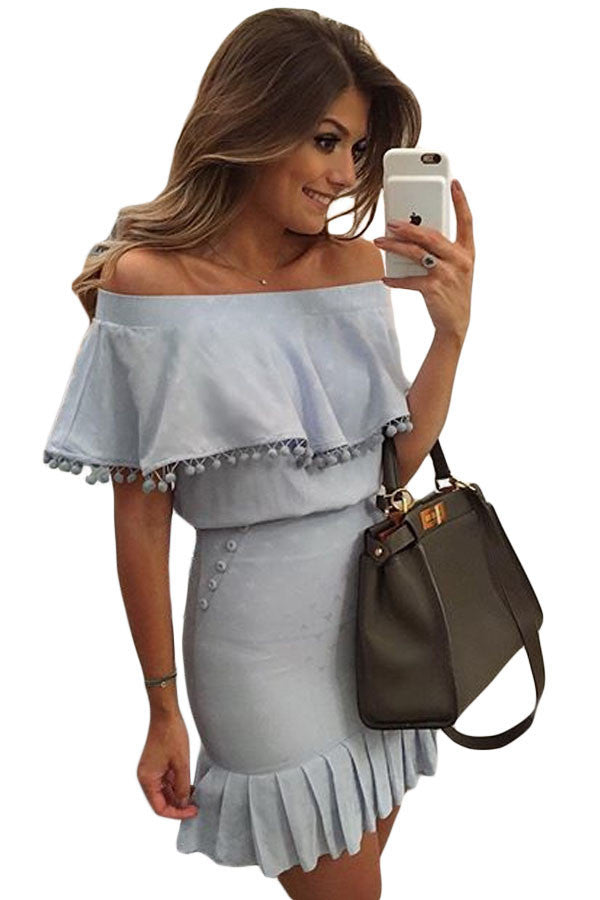 Blue Pom Pom Trim Overlay Off Shoulder Mini Dress