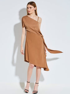 Asymmetric Oblique Collar Backless Women's Sexy Dress