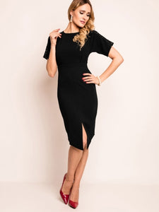Asymmetric Plain Short Sleeve Women's Bodycon Dress